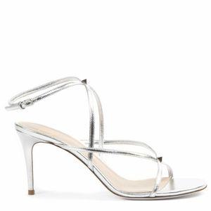 Valentino Garavani silver rockstud sandal.